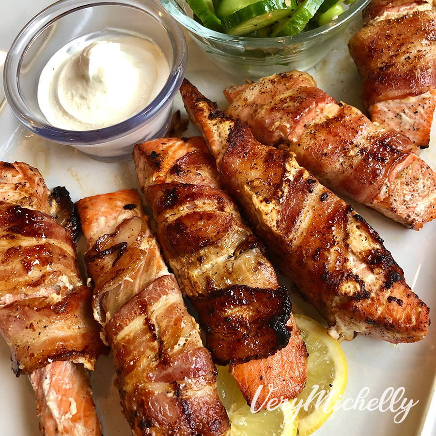 Bacon Wrapped Grilled Salmon with Cucumber Salad