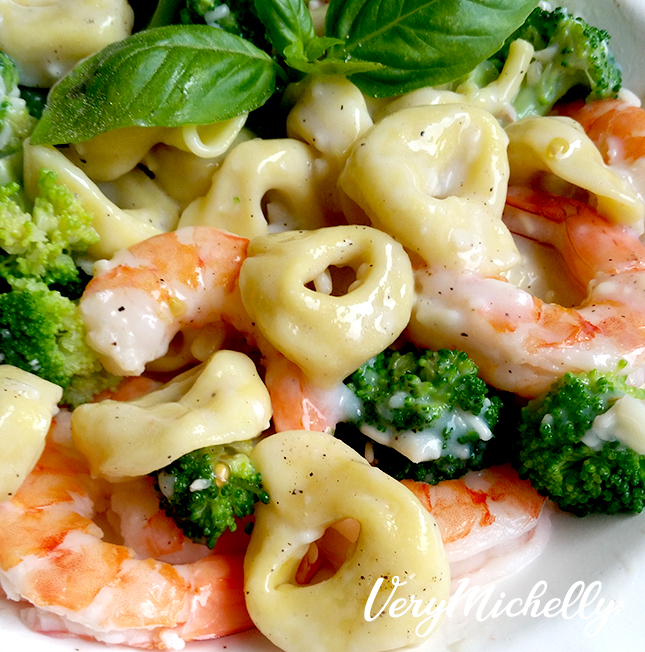 Tortellini and Shrimp w Alfredo Sauce