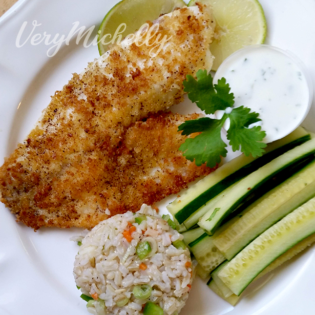 Panko Crusted Tilapia and Sticky Rice